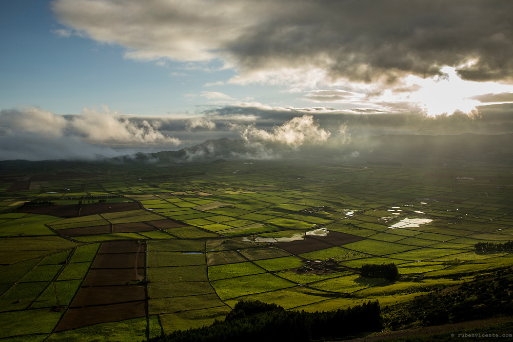 View of cultivated fields from Serra do Cume. Terceira, Azores, Portugal