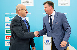 Bogdan Gabrovec, president of OKS and Igor Rakusa of Radece paper during presentation of Slovenian Young Athletes before departure to EYOF (European Youth Olympic Festival) in Vorarlberg and Liechtenstein, on January 21, 2015 in Bled, Slovenia. Photo by Vid Ponikvar / Sportida