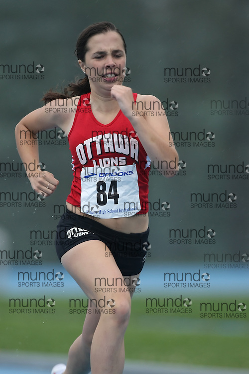 """(Ottawa, Ontario---20080628) """"Moore, Clara"""" competing in the 400m at the 2008 District G qualifier for the Royal Canadian Legion Ontario Track and Field Championships. This image is copyright Sean W. Burges, and the photographer can be contacted at seanburges@yahoo.com."""