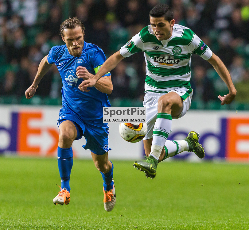 Daniel Hestad and Tom Rogic in action during the UEFA Europa League group stage match between Celtic and Molde FK (c) ROSS EAGLESHAM | Sportpix.co.uk