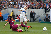 Jennifer Beattie of Manchester City and Eugenie Le Sommer to OL during the UEFA Women's Champions League, semi final, 2nd leg football match between Olympique Lyonnais and Manchester City on April 29, 2018 at Groupama stadium in Décines-Charpieu near Lyon, France - Photo Romain Biard / Isports / ProSportsImages / DPPI