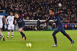 January 17, 2018 - Paris, France - Neymar Jr shoot the penalty for Paris Saint-Germain in action during the Ligue 1 match between Paris Saint Germain and Dijon FCO at the Parc des Princes in Paris (Credit Image: © Panoramic via ZUMA Press)