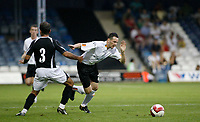 Photo: Marc Atkins.<br /> Luton Town v Fulham. Pre Season Friendly. 21/07/2006.<br /> Luton's David Bell goes down under a challenge from Fulham's Niclas Jensen.