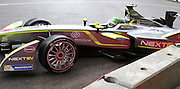 Nelson Piquet Jr getting close to the wall in a wet qualifying session during the FIA Formula E Visa London ePrix  at Battersea Park, London, United Kingdom on 28 June 2015. Photo by Matthew Redman.