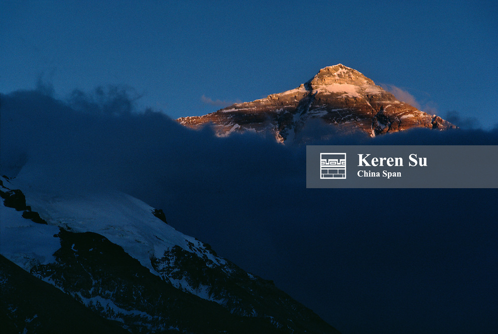 Mt. Everest at sunset, Tibet, China
