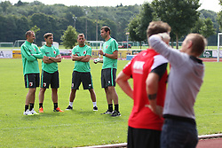 29.06.2015, Ernst-Lehner-Stadion, Augsburg, GER, 1. FBL, FC Augsburg, Trainigsauftakt, Laktat-Test, im Bild Trainerteam beobachtet den Laktat-Test, (v.li.) Tobias Zellner (Co-Trainer FC Augsburg), Wolfgang Beller (Co-Trainer FC Augsburg), Markus Weinzierl (Trainer FC Augsburg), Thomas Barth (Co-Trainer FC Augsburg), // during a traning session of German 1st Bundeliga Club FC Augsburg at the Ernst-Lehner-Stadion in Augsburg, Germany on 2015/06/29. EXPA Pictures © 2015, PhotoCredit: EXPA/ Eibner-Pressefoto/ Krieger<br /> <br /> *****ATTENTION - OUT of GER*****