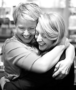 PRICE CHAMBERS / NEWS&amp;GUIDE<br /> Melissa Turley hugs campaign manager Jordan Schriber Tuesday night at Eleanor's Bar and Grill as the pair celebrate a win for the newest Teton County Commissioner. Turley joins Barbara Allen as they replace commissioners Paul Perry and Andy Schwartz.