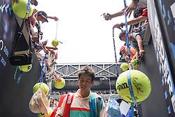 MELBOURNE, Jan. 17, 2019  Kei Nishikori of Japan leaves the court during the men's second round match between Kei Nishikori of Japan and Ivo Karlovic of Croatia at the 2019 Australian Open in Melbourne, Australia, Jan. 17, 2019. (Credit Image: © Bai Xuefei/Xinhua via ZUMA Wire)