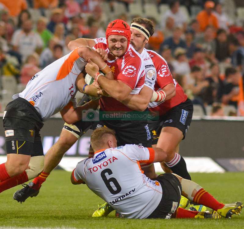 Cyle Brink of the Lions and Henco Venter of the Free State Cheetahs  during the Currie Cup Premier division match between the The Free State Cheetahs and the Lions held at Toyota Stadium (Free State Stadium), Bloemfontein, South Africa on the 15th September 2016<br /> <br /> Photo by:   Frikkie Kapp / Real Time Images