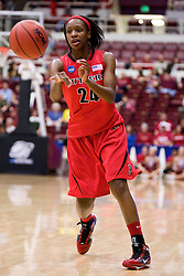 March 20, 2010; Stanford, CA, USA; Rutgers Scarlet Knights forward Myia McCurdy (24) during the first half against the Iowa Hawkeyes in the first round of the 2010 NCAA womens basketball tournament at Maples Pavilion. Iowa defeated Rutgers 70-63.