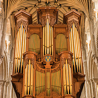 The organ in Norwich Cathedral in Norfolk in England