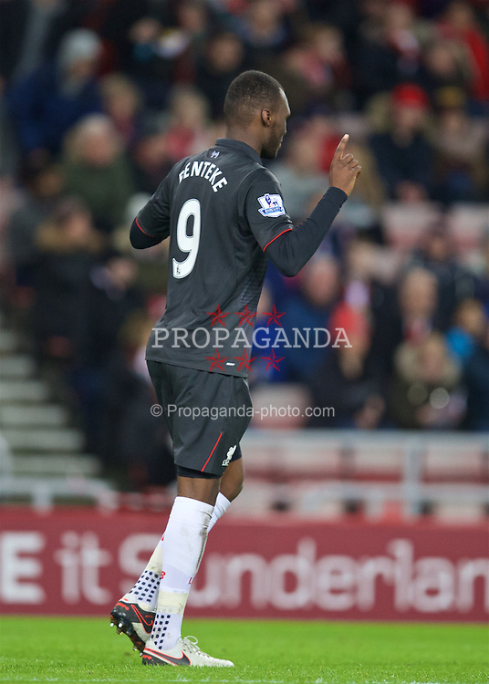 SUNDERLAND, ENGLAND - Wednesday, December 30, 2015: Liverpool's Christian Benteke celebrates scoring the first goal against Sunderland during the Premier League match at the Stadium of Light. (Pic by David Rawcliffe/Propaganda)