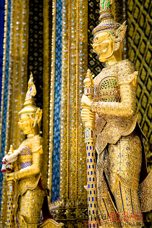 statues in Phra Mondop library. Wat Phra Kaew or Temple of the emerald Buddha. Grand palace. Bangkok, Thailand.