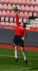 SOUTHAMPTON, ENGLAND - Thursday, April 5, 2018: Wales' goalkeeper Laura O'Sullivan during a training session at St. Mary's Stadium ahead of the FIFA Women's World Cup 2019 Qualifying Round Group 1 match against England. (Pic by David Rawcliffe/Propaganda)