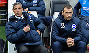 Brighton Manager Chris Hughton and Brighton Assistant Manager Colin Calderwood during the Sky Bet Championship match between Brighton and Hove Albion and Nottingham Forest at the American Express Community Stadium, Brighton and Hove, England on 7 February 2015. Photo by Phil Duncan.