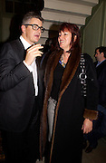 Jay Jopling and Janet Street-Porter, Memphis, new work by Tracey Emin, Counter Gallery and afterwards at a Georgian house in Fournier St. Spitafields, 19 November 2003.  © Copyright Photograph by Dafydd Jones 66 Stockwell Park Rd. London SW9 0DA Tel 020 7733 0108 www.dafjones.com