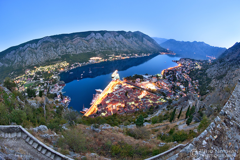 Dawn view of Kotor Bay and Kotor town in Montenegro. Photographed from the ramparts of St John's Castle in the mountains overlooking the town.