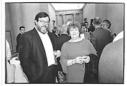 A.S. Byatt and her husband. Patrick Heron dinner. Tate. 25 June 1998. <br />