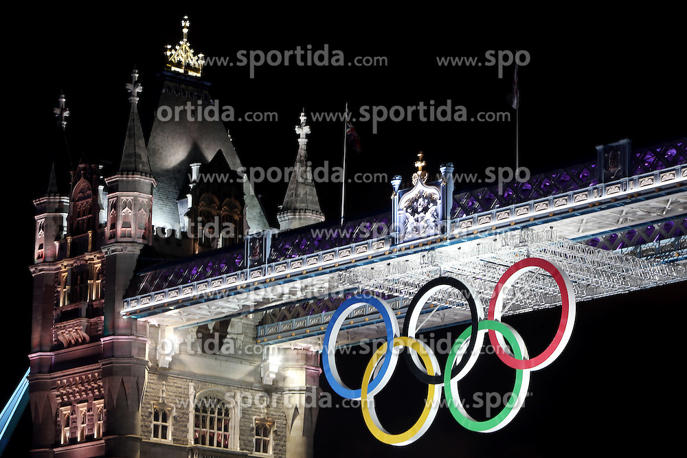 Olympic Games London 2012, .Tower Bridge of London with olympic rings.© pixathlon