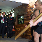 Georgia captain Irakli Abuseridze leads his team during a Maori welcome during the Georgia Rugby Team teams official Civic welcome and cap presentation at Skyline.  Queenstown, New Zealand, 6th September 2011. Photo Tim Clayton..