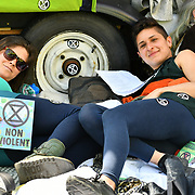 Activists chain themselves at the bottom of the boat on Day 5 - XRExtinction Occupy Parliament in demand the UK Govt to act of Climate Change by 2025 on 19 April 2019 at Oxford Street, London, UK.