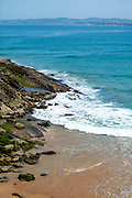 SANTANDER, SPAIN - April 19 2018 - Daytime view of Playa de Los Molinucos beach shoreline, Santander, Cantabria, Northern Spain, Europe.