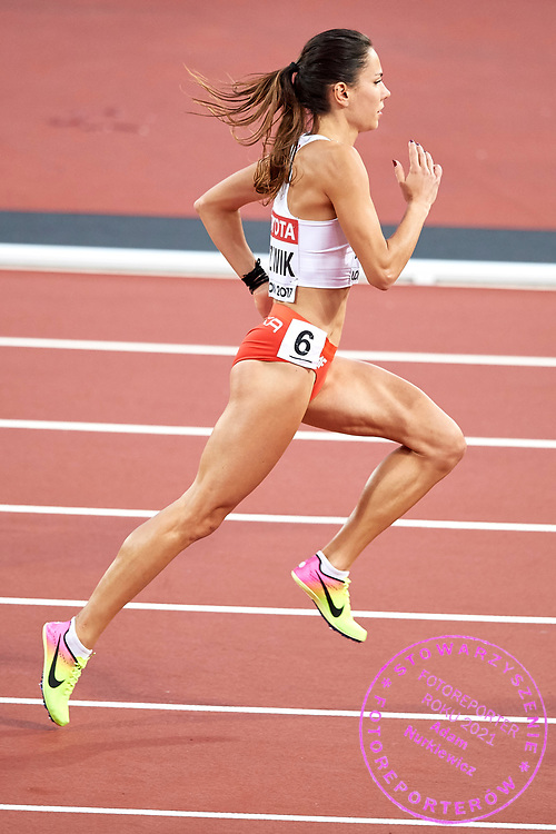 Great Britain, London - 2017 August 11: Joanna Jozwik (AZS AWF Warszawa) of Poland competes in women&rsquo;s 800 meters semi final during IAAF World Championships London 2017 Day 8 at London Stadium on August 11, 2017 in London, Great Britain.<br /> <br /> Mandatory credit:<br /> Photo by &copy; Adam Nurkiewicz<br /> <br /> Adam Nurkiewicz declares that he has no rights to the image of people at the photographs of his authorship.<br /> <br /> Picture also available in RAW (NEF) or TIFF format on special request.<br /> <br /> Any editorial, commercial or promotional use requires written permission from the author of image.