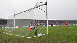 Back of the net Westport&rsquo;s Shane Scott scores from the penalty to level the match .<br />