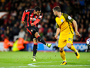 Joshua King (17) of AFC Bournemouth shoots at goal during the Premier League match between Bournemouth and Brighton and Hove Albion at the Vitality Stadium, Bournemouth, England on 15 September 2017. Photo by Graham Hunt.