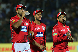 May 8, 2018 - Jaipur, Rajasthan, India - Kings XI Punjab team captain Ravichandran Ashwin , Karun Nair and Manoj Tiwary during the IPL T20 match against Rajasthan Royals at Sawai Mansingh Stadium in Jaipur,Rajasthan,India on 8th May,2018.(Photo By Vishal Bhatnagar/NurPhoto) (Credit Image: © Vishal Bhatnagar/NurPhoto via ZUMA Press)