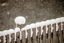 THEMENBILD - Neuschnee auf einem Holzzaun bei Schneefall. Große Mengen an Neuschnee fielen in der Nacht auf Samstag in ganz Salzburg, aufgenommen am 05. Jänner 2019, Kaprun, Österreich // Fresh snow on a wooden fence during snowfall. Large amounts of fresh snow fell during the night on Saturday in the whole of Salzburg on 2019/01/05, Kaprun, Austria. EXPA Pictures © 2019, PhotoCredit: EXPA/Stefanie Oberhauser