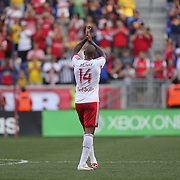 Thierry Henry, New York Red Bulls, salutes the fans after being substituted  early in the second half during the New York Red Bulls Vs Arsenal FC,  friendly football match for the New York Cup at Red Bull Arena, Harrison, New Jersey. USA. 26h July 2014. Photo Tim Clayton
