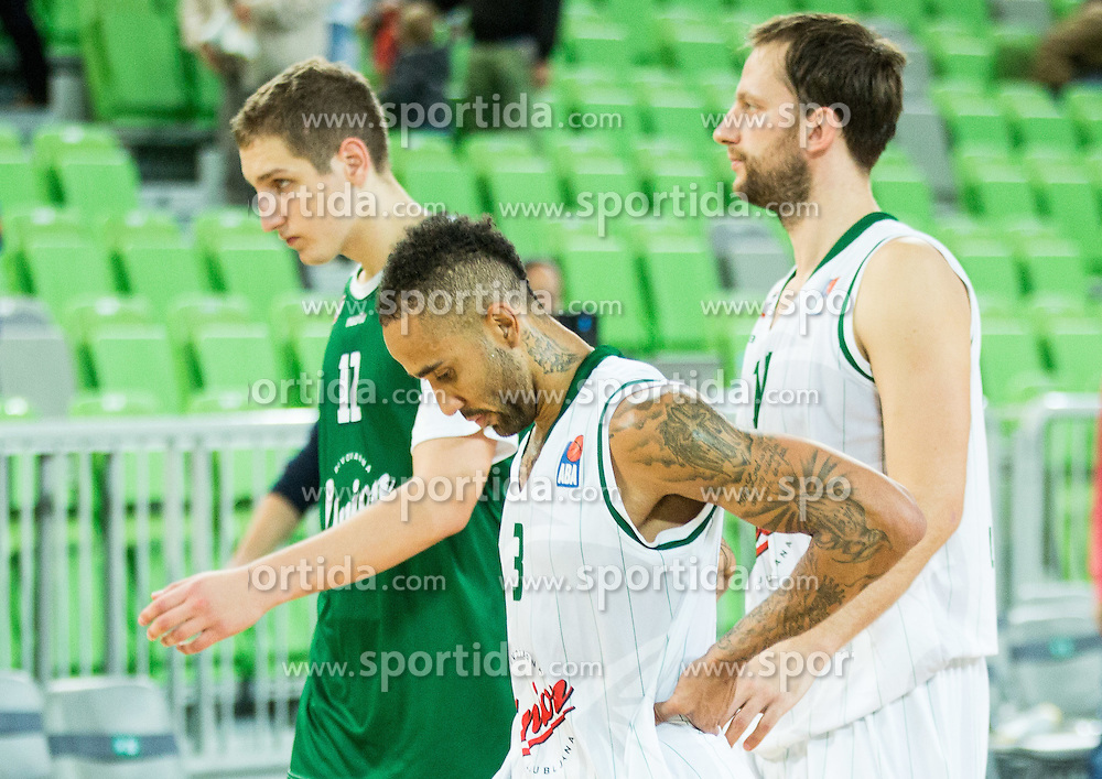 Zack Wright #3 of KK Union Olimpija after the basketball match between KK Union Olimpija Ljubljana and KK Sutjeska Niksic in Round #3 of ABA League 2015/16, on October 7, 2015 in Arena Stozice, Ljubljana, Slovenia. Photo by Vid Ponikvar / Sportida