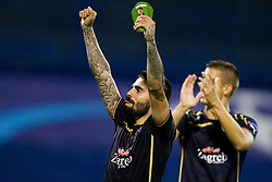 Players of GNK Dinamo celebrate after football match between GNK Dinamo Zagreb, CRO and Arsenal FC, ENG in Group F of Group Stage of UEFA Champions League 2015/16, on September 16, 2015 in Stadium Maksimir, Zagreb, Croatia. Photo by Urban Urbanc / Sportida