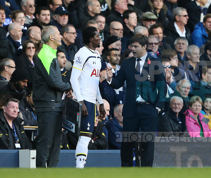 Tottenham's Emmanuel Adebayor comes on as a substitute as he talks Mauricio Pochettino<br /> <br /> - Barclays Premier League - Tottenham Hotspur vs Stoke City- White Hart Lane - London - England - 9th November 2014  - Picture David Klein/Sportimage