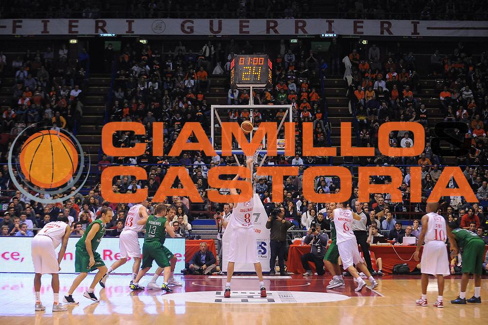 DESCRIZIONE : Milano Lega A 2011-12 EA7 Emporio Armani Milano Montepaschi Siena<br /> GIOCATORE : Danilo Gallinari<br /> CATEGORIA : Tiro Libero<br /> SQUADRA : EA7 Emporio Armani Milano<br /> EVENTO : Campionato Lega A 2011-2012<br /> GARA : EA7 Emporio Armani Milano Montepaschi Siena<br /> DATA : 13/11/2011<br /> SPORT : Pallacanestro<br /> AUTORE : Agenzia Ciamillo-Castoria/A.Dealberto<br /> Galleria : Lega Basket A 2011-2012<br /> Fotonotizia : Milano Lega A 2011-12 EA7 Emporio Armani Milano Montepaschi Siena<br /> Predefinita :