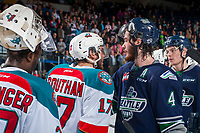 KELOWNA, CANADA - APRIL 30: Turner Ottenbreit #4 of the Seattle Thunderbirds congratulates Rodney Southam #17 of the Kelowna Rockets on the season on April 30, 2017 at Prospera Place in Kelowna, British Columbia, Canada.  (Photo by Marissa Baecker/Shoot the Breeze)  *** Local Caption ***