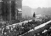 Austro-Hungarian moblization 1914: column of troops marching through Vienna watched by enthusiastic crowds.