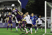Daniel Parslow misses a chance at the back post during the Vanarama National League match between Boreham Wood and Cheltenham Town at Meadow Park, Boreham Wood, United Kingdom on 9 January 2016. Photo by Antony Thompson.