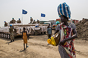 Civilians under protection of UNMISS Peacekeepers inside UNMISS compound in Pibor following outbreak of violence - 6 March 2013
