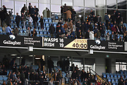 The scoreboard at half time during the Gallagher Premiership Rugby match between Wasps and London Irish at the Ricoh Arena, Coventry, England on 20 October 2019.