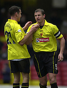 28/02/2004  -  Nationwide Div 1 Watford v Wimbledon..Watford skipper Neil Cox is congratulated by Scott Fitgerald, after scoring from the penalty spot.