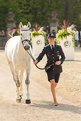 Vittoria Panizzon (ITA) leads Borough Pennyz for the vet's inspection during the trot up at the 2013 Mitsubishi Motors Badminton Horse Trials. Thursday 02  May  2013.  Badminton, Gloucs, UK..Photo by: Mark Chappell / i-Images