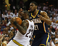 April 17, 2017 - Cleveland, OH, USA - Cleveland Cavaliers forward LeBron James gets caught up in a play with Indiana Pacers forward Thaddeus Young during the first quarter in Game 2 of an Eastern Conference playoff game on Monday, April 17, 2017, at Quicken Loans Arena in Cleveland, Ohio. (Credit Image: © Leah Klafczynski/TNS via ZUMA Wire)