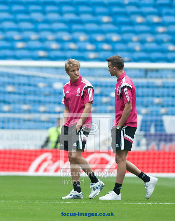 Martin Odegaard (L) of Real Madrid two hours before the La Liga match at the Estadio Santiago Bernabeu, Madrid<br /> Picture by Marcos Calvo Mesa/Focus Images Ltd +34 654142934<br /> 29/04/2015