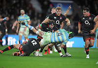 Rugby Union - 2017 Old Mutual Wealth Series (Autumn Internationals) - England vs. Argentina<br /> <br /> Harry Williams of England combines with Henry Slade to stop , matias Alemanno at Twickenham.<br /> <br /> COLORSPORT/ANDREW COWIE