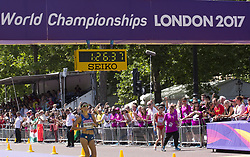 August 13, 2017 - London, United Kingdom - Antonella Palmisano  finishing third at Women 20 K Race Walk at IAAF World Championships in London, UK on August 13, 2017. The race took place on The Mall, most picturesque street of London and attracted thousands spectators. (Credit Image: © Dominika Zarzycka/NurPhoto via ZUMA Press)