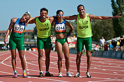 GUILHERMINA Terezinha Guide:  SANTANA Guilherme, SANTOS Jerusa Guide: SILVA Luiz Henrique, BRA, 200m, T11, 2013 IPC Athletics World Championships, Lyon, France