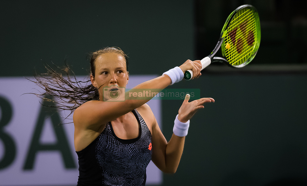 March 6, 2019 - Indian Wells, USA - Vera Lapko of Belarus in action during the first round at the 2019 BNP Paribas Open WTA Premier Mandatory tennis tournament (Credit Image: © AFP7 via ZUMA Wire)