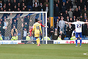 Millwall Goalkeeper, Jordan Archer cant keep out Bury Forward, Ryan Lowe 200th league goal during the Sky Bet League 1 match between Bury and Millwall at the JD Stadium, Bury, England on 23 April 2016. Photo by Mark Pollitt.